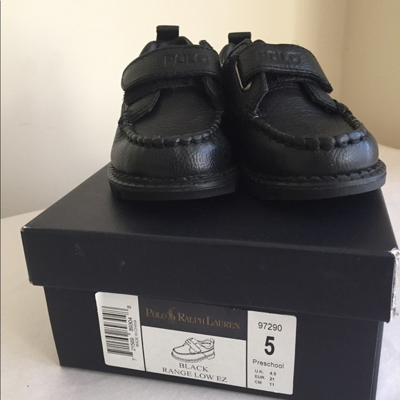 a791795e Ralph Lauren Polo Black boys dress shoes leather 5